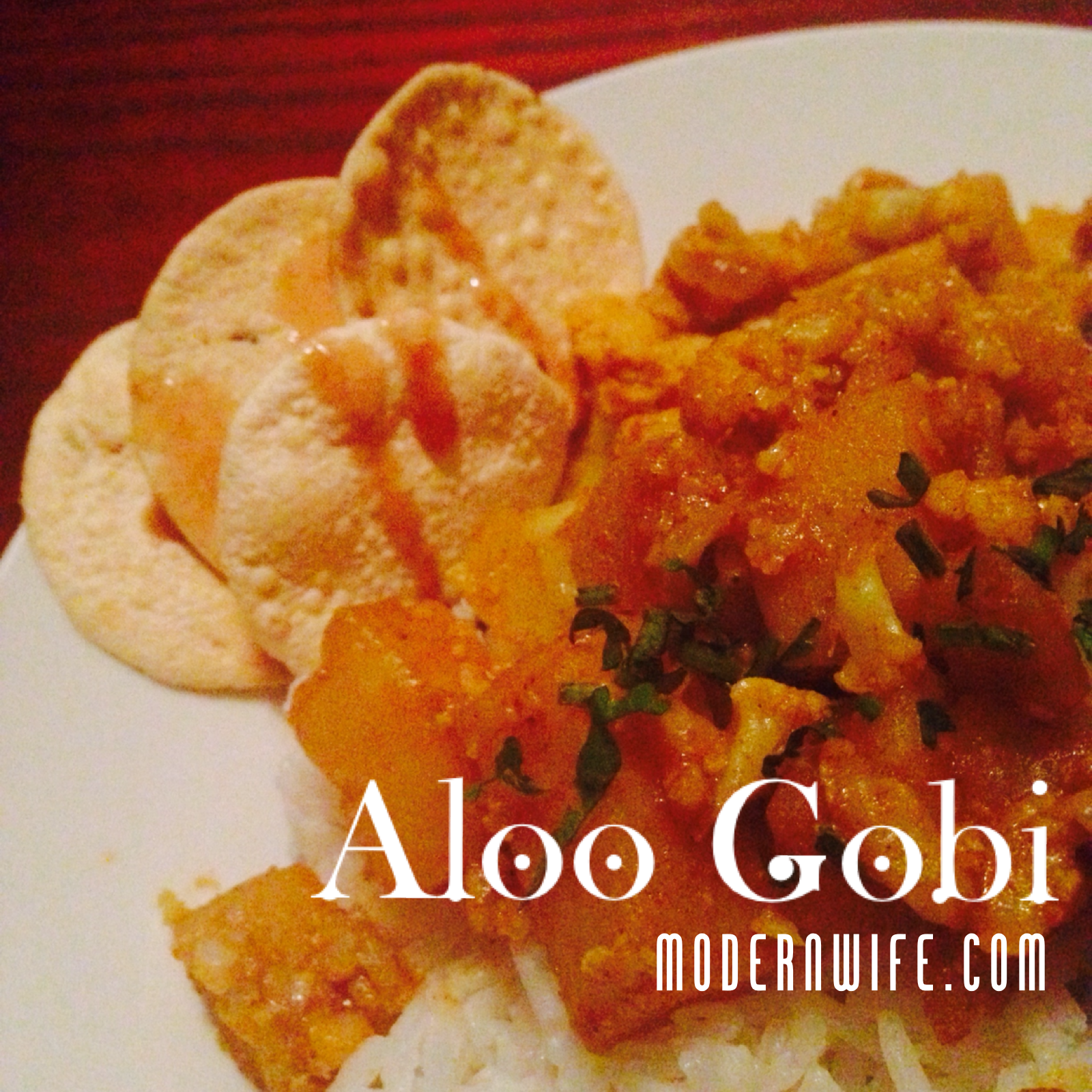 Aloo Gobi, Indian Potato and Cauliflower Dish