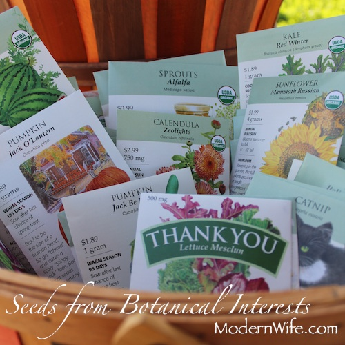 Seed packets from Botanical Interests