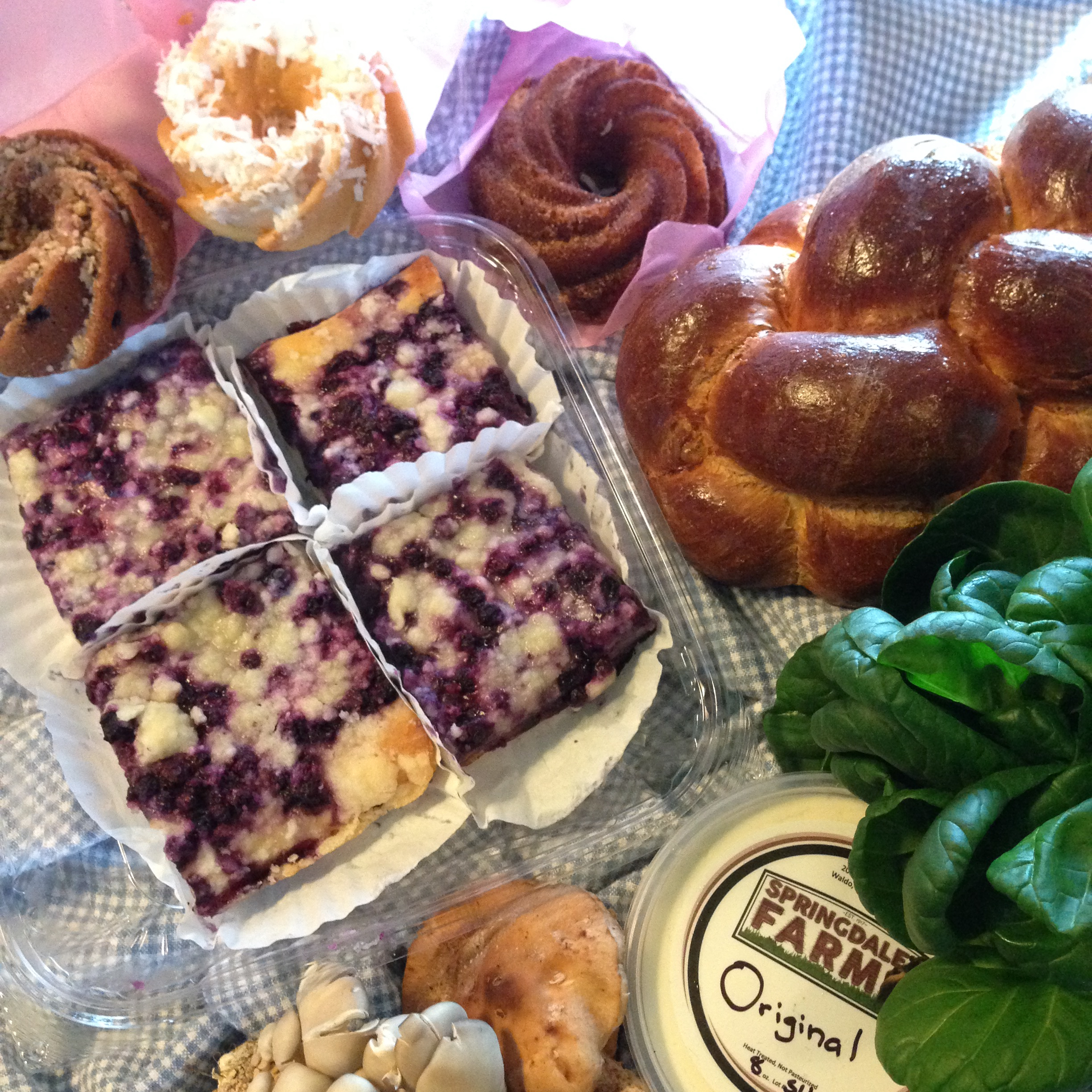 Farmers Market Finds: blueberry kuchen, mini bundt cakes coconut blueberry and cinnamon, oyster mushrooms, shiitake mushrooms, cream cheese, bok choy, challah bread