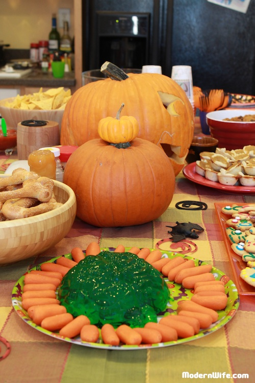 Halloween Party Food Jello in Brain Mold with Cut Carrots