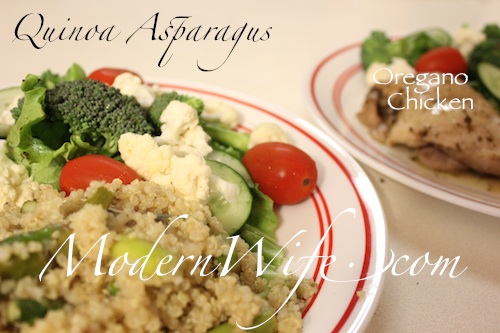 Quinoa Asparagus Oregano Chicken